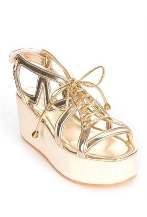 Mizu Kadın Deri Altın Dolgu Topuk Sandalet Tracy