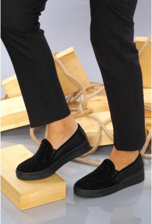 Celens Siyah Taşlı Kadın Ayakkabı-K202