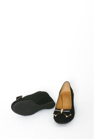 İlker Kundura Siyah Velvet Klasik Kadın Ayakkabı-310