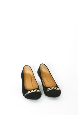 İlker Kundura Siyah Velvet Klasik Kadın Ayakkabı-423