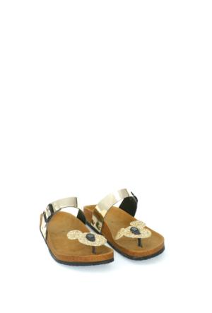 Fidan Ayakkabı Altın Miki Mouse Parmak Arası Kadın Terlik