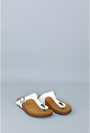 Fidan Ayakkabı Beyaz Parmak Arası Kadın Terlik
