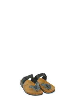 Fidan Ayakkabı Siyah Miki Mouse Parmak Arası Kadın Terlik