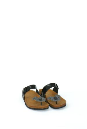 Fidan Ayakkabı Siyah Rugan Miki Mouse Parmak Arası Kadın Terlik