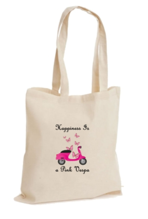 XukX Dizayn Happiness Is a Pink Vespa Bez Çanta