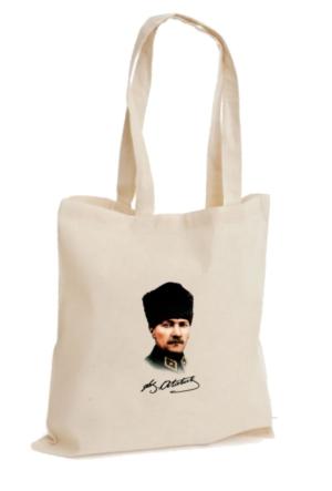 XukX Dizayn Renkli Kalpaklı Atatürk Bez Çanta