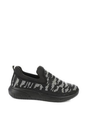 Bambi Kadın Siyah-Beyaz Strec Spor Ayakkabı