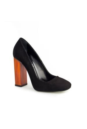 Cabani Lita Topuk Günlük Kadın Ayakkabı Siyah Süet