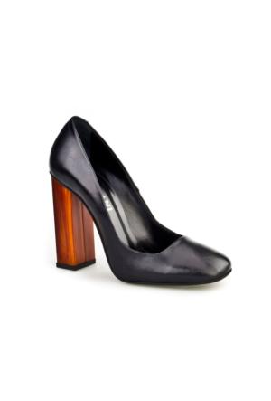 Cabani Lita Topuk Günlük Kadın Ayakkabı Siyah Analin Deri