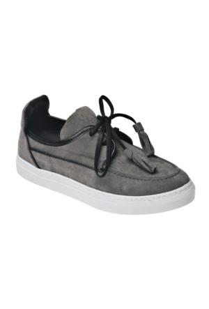 Ayakkabı - Gri Fiyonklu - Zenneshoes