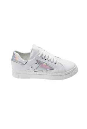 Ayakkabı - Beyaz Gümüş Yıldız - Zenneshoes