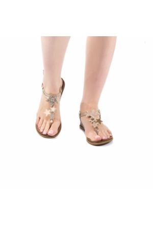 Modabuymus Pernigo Gold Yıldız Taşlı Parmak Arası Sandalet