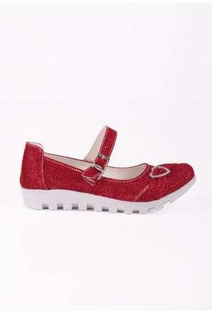 Erbilden Papi Kırmızı Simli Tokalı, Kemerli Çocuk Babet Ayakkabı