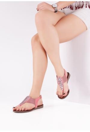 Erbilden Eleg Pembe Desenli Parmak Arası Bayan Sandalet Ayakkabı