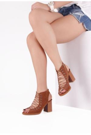 Erbilden Hsn Taba Yandan Fermuarlı Bayan Kısa Topuk Ayakkabı