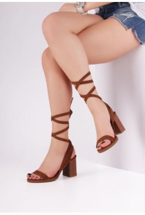 Erbilden Hsn Taba Bilekten Bağlamalı Uzun İpli Bayan Kısa Topuk Ayakkabı