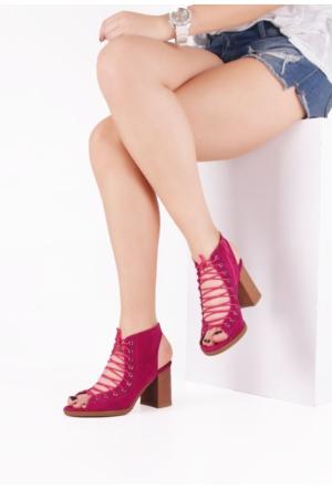 Erbilden Hsn Fuşya Yandan Fermuarlı Bayan Kısa Topuk Ayakkabı