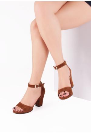 Erbilden İni Taba Süet Bilekten Bağlamalı Kalın, Kısa Topuk Bayan Ayakkabı