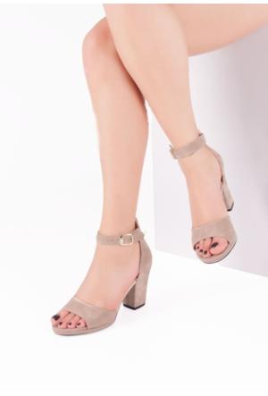 Erbilden İni Vizon Süet Bilekten Bağlamalı Kalın, Kısa Topuk Bayan Ayakkabı