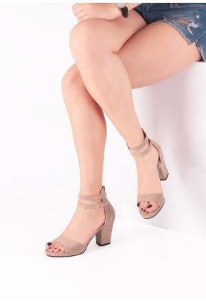 Erbilden İni Vizon Süet Bilekten Çift Kemerli Bayan Kısa, Kalın Topuklu Ayakkabı