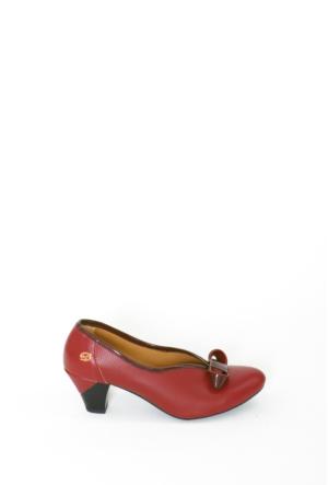 İlker Kundura Bordo Klasik Bayan Ayakkabı 420
