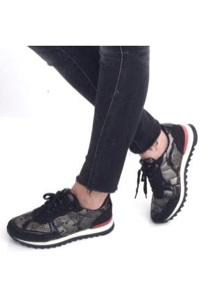 Mio Gusto Mio Gusto - Piton Baskılı Deri Bağcıklı Spor Ayakkabı