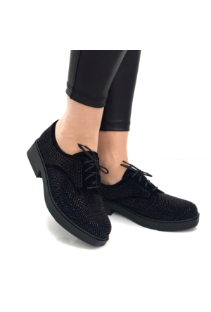 Mio Gusto Mio Gusto - Siyah Süet Parlak Siyah Taş İşlemeli Ayakkabı