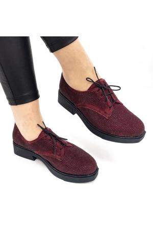 Mio Gusto Mio Gusto - Bordo Süet Parlak Siyah Taş İşlemeli Ayakkabı