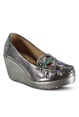 Marjin Esna Dolgu Topuk Ayakkabı Platin