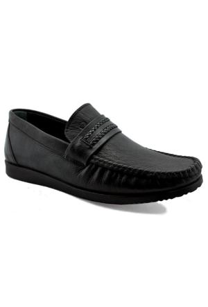 Mammamia D16Ya-7005 Ortopedik Tabanlı Deri Ayakkabı Siyah