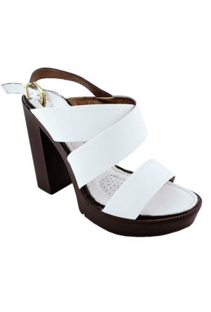 Mammamia Dy16-1420 Deri Topuklu Kadın Ayakkabı Beyaz