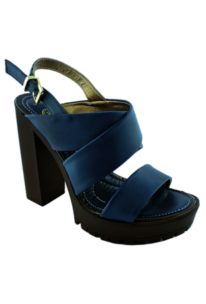 Mammamia Dy16-1420 Deri Topuklu Kadın Ayakkabı Koyu Mavi