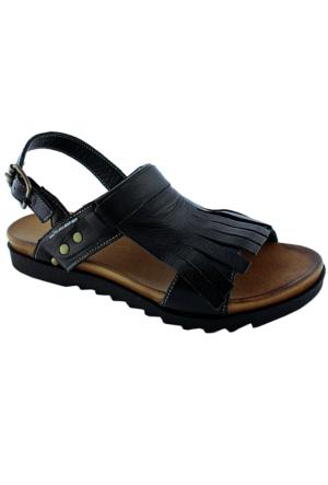 Green Life Foot 757 Kadın Deri Sandalet Siyah