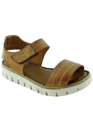Green Life Foot 781 Kadın Deri Sandalet Taba