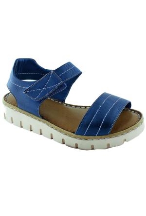 Green Life Foot 781 Kadın Deri Sandalet Koyu Mavi