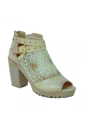 Sms 1141 File Kumaş Topuklu Kadın Ayakkabı Bej