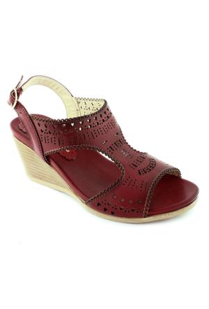 Sms 1070 Dolgu Topuk Kadın Sandalet Kırmızı