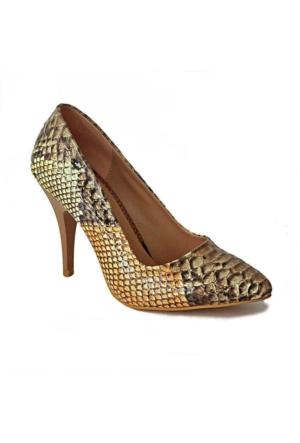 Ayakkabım Çantam 3160 Sivri Burun Kadın Ayakkabı Vizon