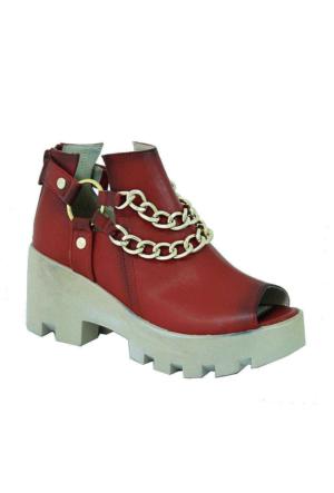 Sms 3197 Zincirli Kadın Ayakkabı Kırmızı