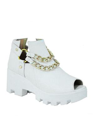 Sms 3197 Zincirli Kadın Ayakkabı Beyaz