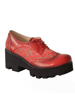 Sms 3195 Kalın Tabanlı Kadın Ayakkabı Kırmızı