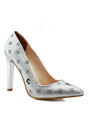 Pierre Cardin 45330 Sivri Burun Topuklu Kadın Ayakkabı Gümüş
