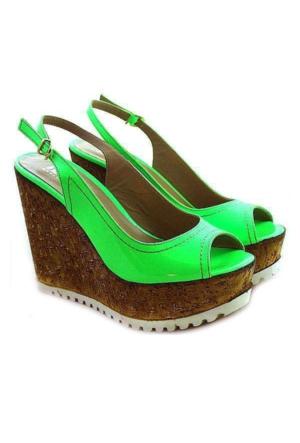 İloz 1901 Rugan Dolgu Topuk Kadın Ayakkabı Yeşil