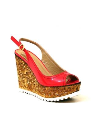 İloz 1901 Rugan Dolgu Topuk Kadın Ayakkabı Nar