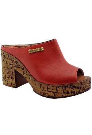 Mammamia D16Yt-2080 Deri Topuklu Kadın Terlik Kırmızı