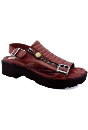 Mammamia D16Ys-1250 Kadın Deri Sandalet Bordo
