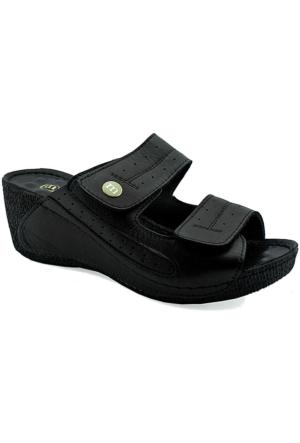 Mammamia D16Yt-2060 Deri Dolgu Topuk Kadın Terlik Siyah