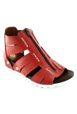 Mammamia D16Ya-1620 Deri Bilekli Kadın Sandalet Kırmızı