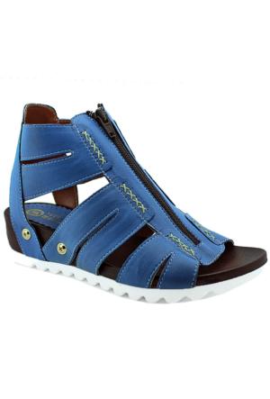 Mammamia D16Ya-1620 Deri Bilekli Kadın Sandalet Mavi