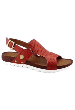 Mammamia D16Ya-1125 Ortopedik Tabanlı Deri Sandalet Kırmızı